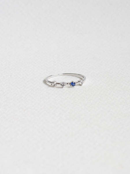 Satellite Ring - White and Blue Sapphires in 18k White Gold