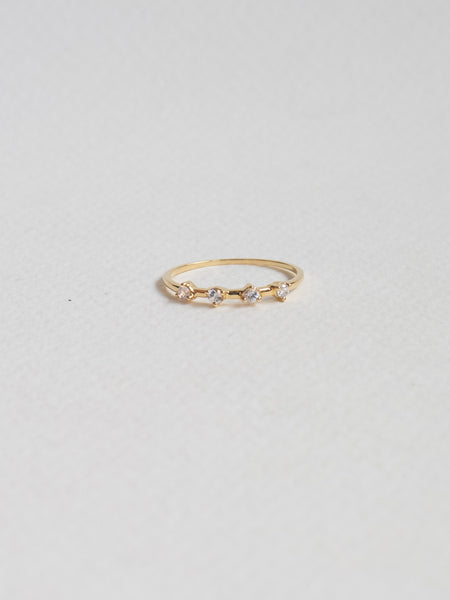Satellite Ring - White Sapphires in 18k Yellow Gold