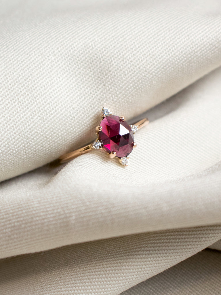 Stargazer Ring - Rose-cut Garnet and Diamonds in 18k Rose Gold