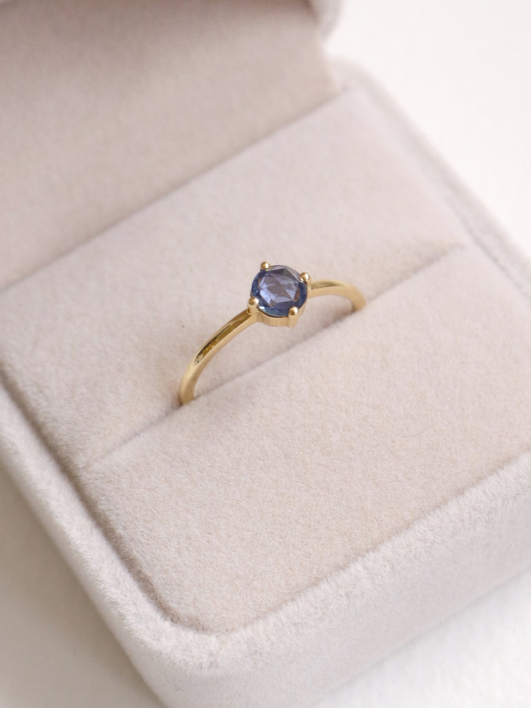 Compass Ring - Blue Rosecut Sapphire in 18k Gold