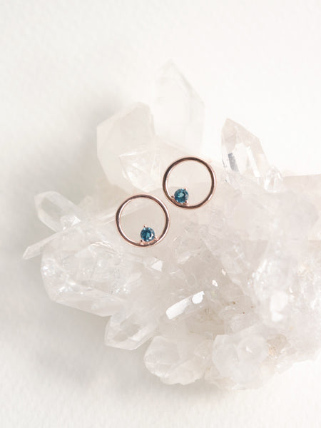 Bri Earstuds - London Blue Topaz in Rose Gold