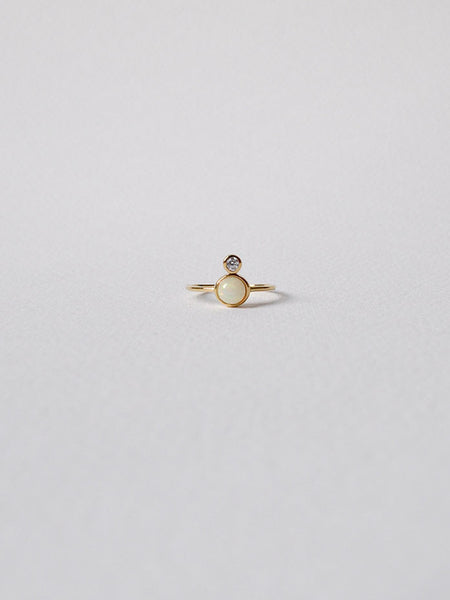 The Orb Ring - Opal on Gold