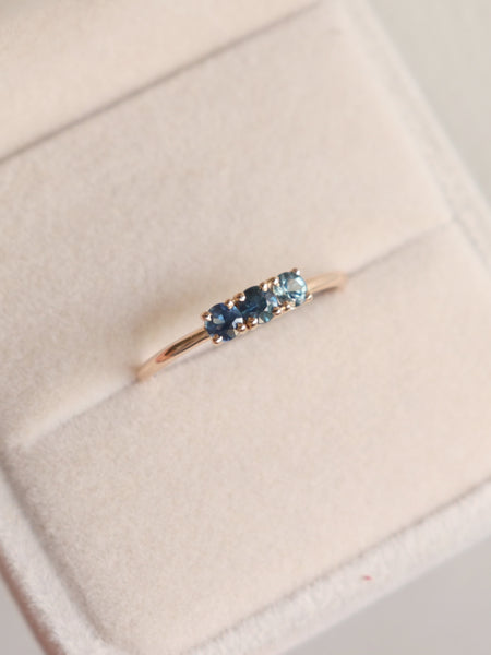 Pebbles Ring - Shades of Blue Sapphires in 18k Rose Gold