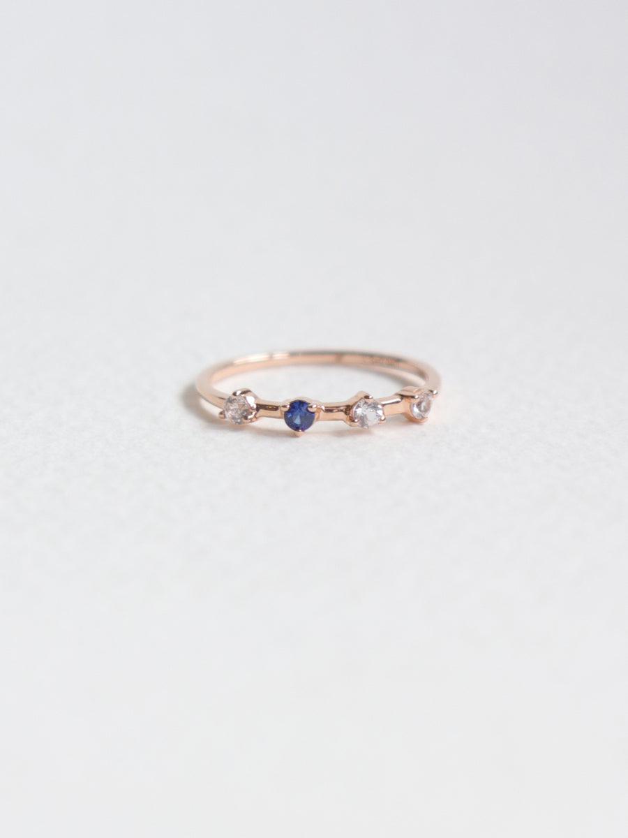 Satellite Ring - White and Blue Sapphires in 18k Rose Gold