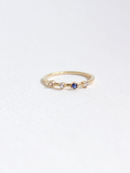 Satellite Ring - White and Blue Sapphires in 18k Gold
