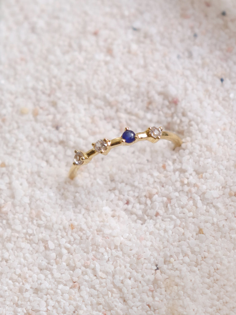 Pre-order Satellite Ring - White and Blue Sapphires / Diamonds in 18k Gold