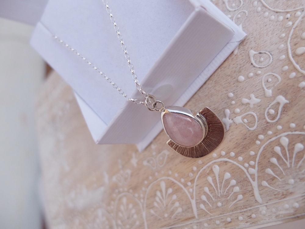 Sunray Pendant Necklace ~ Morganite #154