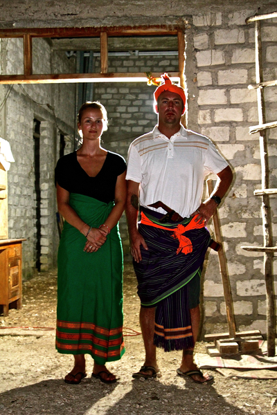 Baki Clothing founder Peter Axelsen with his cousin Mara MacDonald in Sumba, Indonesia