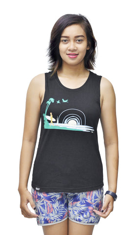Surf Life Ladies Bamboo Tank Top - Baki Lifestyle Apparel- Made from Bamboo - 1