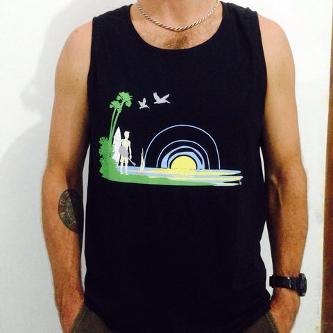 Surf Life Bamboo Mens Tank Top - Baki Lifestyle Apparel- Made from Bamboo - 1