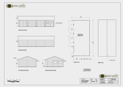 Planning Drawing 1 - Mr S - West Monkton, Somerset, 20ft x 40ft Quadruple Timber Garage with Three Bay Garage and Built-in Garden Office