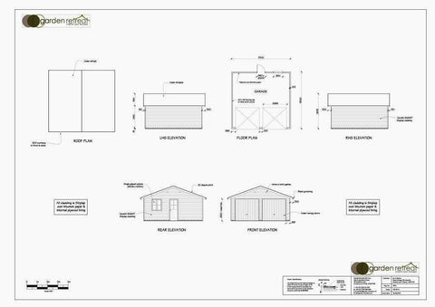 Planning Drawing - Mr B - Staines-Upon-Thames, Middlesex, 19ft wide x 18ft Deep Double Timber Garage  with Cedar Shingles and Cedar Up and Over Doors