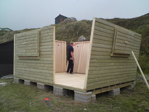 Mr & Mrs W– Portland Bill, Dorset – 14ft x 11ft Customised Beach Hut, Installation Photo 1
