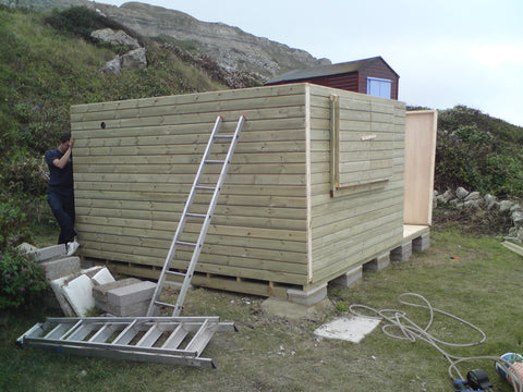 Mr & Mrs W– Portland Bill, Dorset – 14ft x 11ft Customised Beach Hut, Installation Photo 2