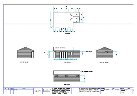 Planning Drawing for 8m x 5m Cedral Clad Garden Room Including Toilet & Kitchen / Utility Room, Salisbury, Wiltshire
