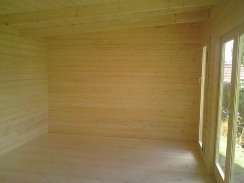 Mr & Mrs E– Dorchester, Dorset – 5.2m x 3.4m – 44mm log Open Plan Barbados Log Cabin – 2.5m Maximum Height, Completed Photo 1