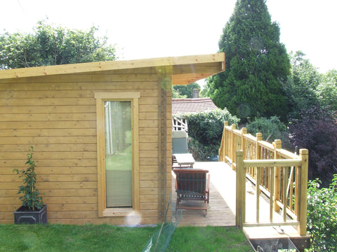 Mr & Mrs E– Dorchester, Dorset – 5.2m x 3.4m – 44mm log Open Plan Barbados Log Cabin – 2.5m Maximum Height, Completed Photo 2