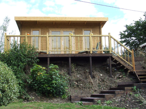 Mr & Mrs E– Dorchester, Dorset – 5.2m x 3.4m – 44mm log Open Plan Barbados Log Cabin – 2.5m Maximum Height, Completed Photo 4
