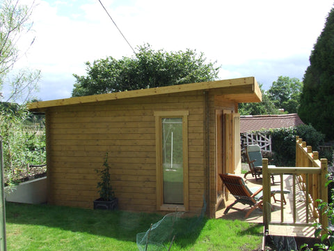 Mr & Mrs E– Dorchester, Dorset – 5.2m x 3.4m – 44mm log Open Plan Barbados Log Cabin – 2.5m Maximum Height, Completed Photo 8