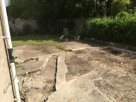 Old Concrete Base Photo 2 for 8m x 5m Cedral Clad Garden Leisure Room With W.C. and Kitchen / Utility Room in Downton, Salisbury.
