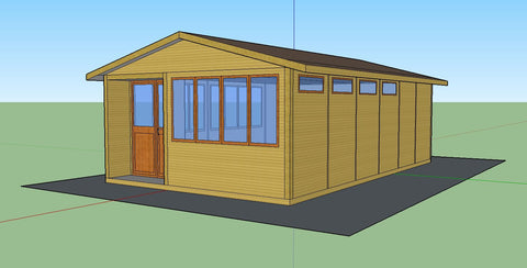 Mock-Up 1 - Mrs D - Whitchurch Canonicorum, Nr Bridport, Dorset, 7.5m x 4.5m Cedar Clad Garden Studio with Cedar Shingles