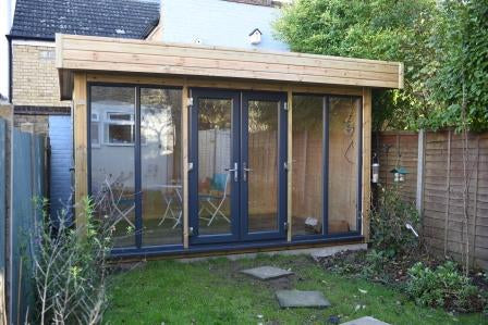 Ms R - Crystal Palace, London, 4.0m x 2.8m Contemporary Garden Office with Grey Anthracite uPVC Doors and Windows, Completed Photo 1