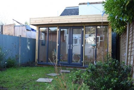 Ms R - Crystal Palace, London, 4.0m x 2.8m Contemporary Garden Office with Grey Anthracite uPVC Doors and Windows, Completed Photo 3