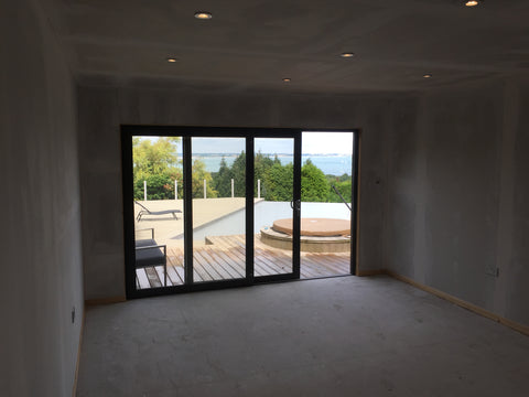 The Build 6 - Mr & Mrs W - Studland, Dorset, 6.0m x 4.0m  Contemporary Garden Gym with 3.0m Anthracite Grey uPVC Patio Doors