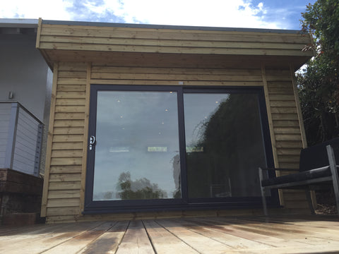 Completed 1 - Mr & Mrs W - Studland, Dorset, 6.0m x 4.0m  Contemporary Garden Gym with 3.0m Anthracite Grey uPVC Patio Doors