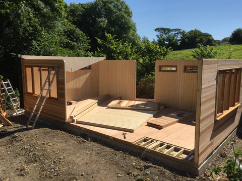 The Build 3 - Mrs D - Whitchurch Canonicorum, Nr Bridport, Dorset, 7.5m x 4.5m Cedar Clad Garden Studio with Cedar Shingles