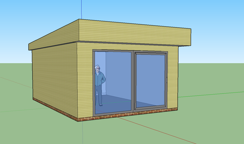 Mock-Up - Mr & Mrs W - Studland, Dorset, 6.0m x 4.0m  Contemporary Garden Gym with 3.0m Anthracite Grey uPVC Patio Doors
