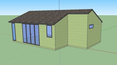Mock Up Front - Drawing for 8m x 5m Cedral Clad Garden Leisure Room With W.C. and Kitchen / Utility Room in Downton, Salisbury