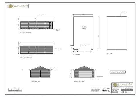 Planning Drawing for 10.0m x 6.1m Triple Timber Garage with a 4.2m Aluminium Insulated Roller Garage Door in Golden Oak and a Metro Tile Roof