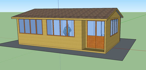 Mock-Up 3 - Mrs D - Whitchurch Canonicorum, Nr Bridport, Dorset, 7.5m x 4.5m Cedar Clad Garden Studio with Cedar Shingles
