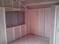 Internal View of Garden Retreat Beach Hut with 75mm x 38mm Framing, Vapour Barrier and 4mm Ply