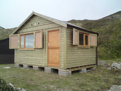 Tanalised Beach Hut with Double Glazed Windows, Lockable Shutters, Stable Door and Internal Changing Area