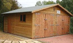 18ft x 18ft Double Timber Garage with Standard Barn Doors, Personnel Door and a Standard Window