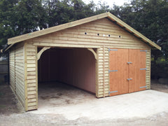 20ft x 20ft Feather Edge Double Timber Garage with an Open Cart Lodge Bay
