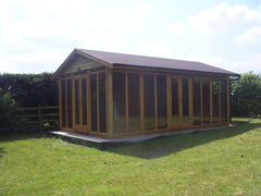 Fully Glazed Contemporary Garden Office with Pitched Roof and Felt Tiles