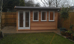 Traditional Garden Office with Cedar Clad, Felt Tiles and White Double Glazed uPVC Windows and Doors