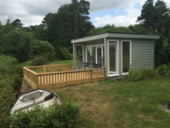 3.0m x 4.0m Contemporary Garden Office with Cedral Cladding, 5 Pane Bi-Folds and a Metal Rollaclad Roof