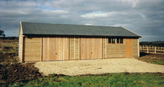 40ft x 20ft Quadruple Timber Garage with 2 Up and Over Timber Doors and Slate Grey Felt Tiles