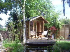 8ft x 8ft Contemporary Garden Office with Pitched Roof and Double Glazed Timber Windows and Doors