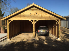 20ft x 20ft Double Timber Garage with 2 Cart Lodge Bays, Lined Soffits and Fascias and Tapco Slate Tiles