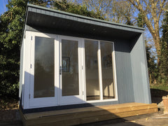 Contemporary, Modern Garden Pod with Rollaclad Metal Roof and Factory Finish White Painted Doors and Windows