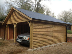 20ft x 20ft Double Timber Garage with 2 Cart Lodge Openings and Grey Tapco Slate
