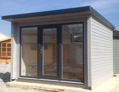 3.0m x 3.0m Garden Pod, Garden Office, Grey Anthracite uPVC Windows and Doors and a Rollaclad Metal Roof