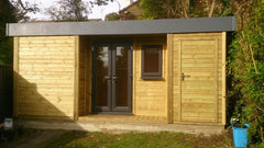 Contemporary Garden Office with Integral Store and Grey Anthracite uPVC Doors and Windows