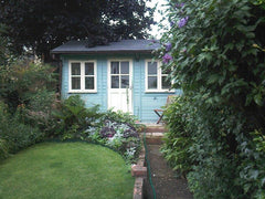 12ft x 12ft Traditional Garden Office, Double Glazed Doors and Windows, Pitched Roof and Slate Grey Tiles.  The Building has been finished in Seagrass