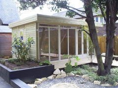 3.8m x 3.6m Contemporary Garden Office, Mono Pitched Roof and Cream Double Glazed Windows and Doors